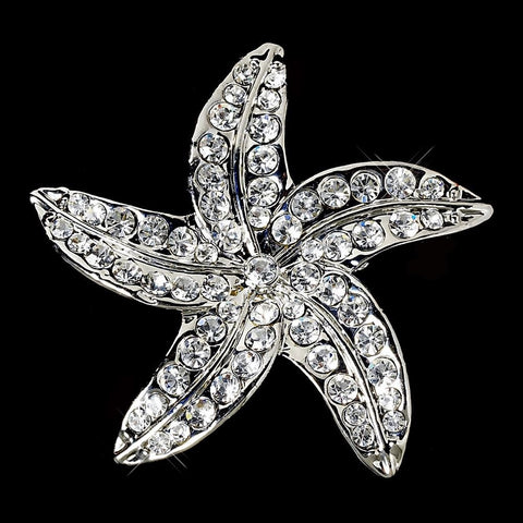 Beach, Brooch, Clear, Jewelry, Rhinestones, Silver, Starfish