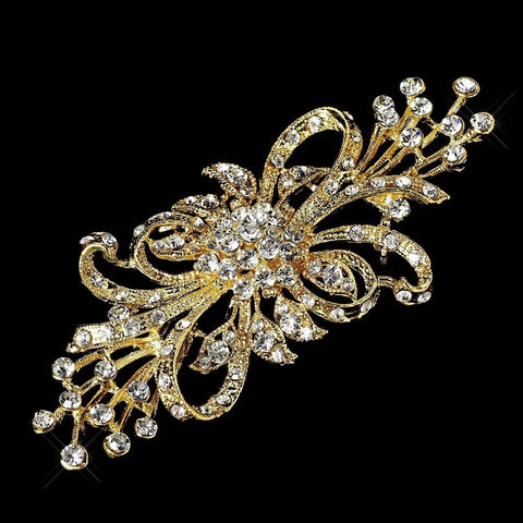 Brooch, Clear, Gold, Jewelry, Rhinestones