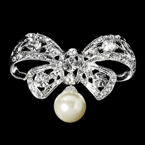 Brooch, Faux Pearls, Jewelry, Pearls, Rhinestones, Silver, White