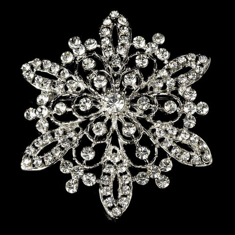 Brooch, Clear, Jewelry, Rhinestones, Rhodium, Snowflake, Winter