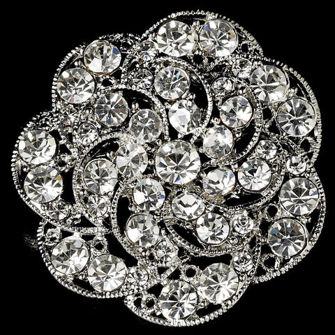 Brooch, Clear, Jewelry, Rhinestones, Rhodium