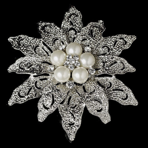 Brooch, Diamond White, Faux Pearls, Jewelry, Pearls, Rhinestones, Rhodium