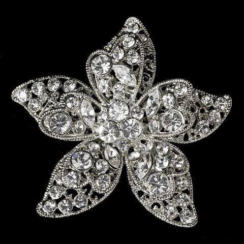 Beach, Brooch, Clear, Flower, Jewelry, Rhinestones, Rhodium, Starfish