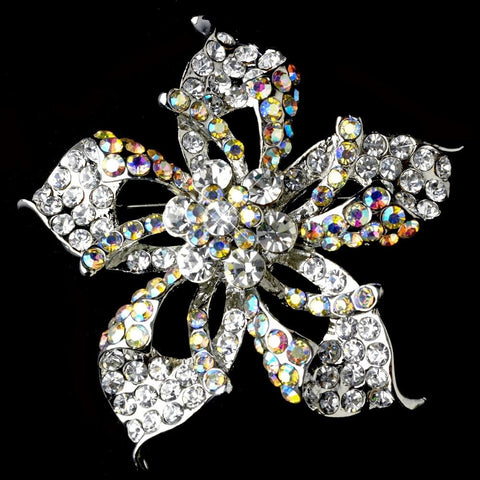 AB, Brooch, Flower, Jewelry, Rhinestones, Rhodium, Sale