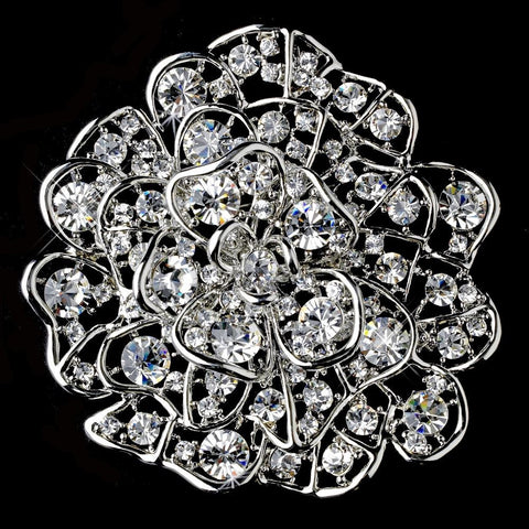Brooch, Clear, Flower, Jewelry, Rhinestones, Rhodium, Sale