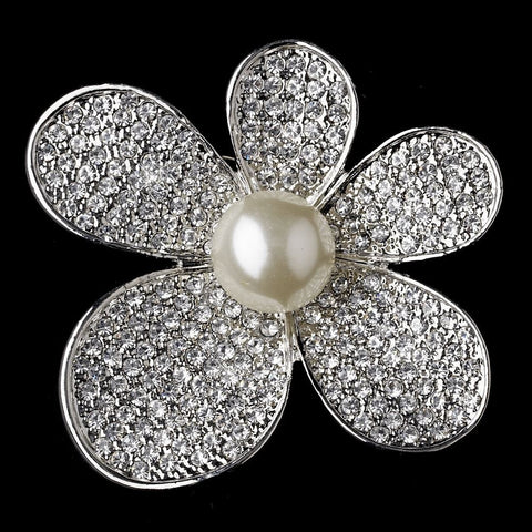 Brooch, Diamond White, Faux Pearls, Flower, Jewelry, Pearls, Rhinestones, Rhodium, Sale