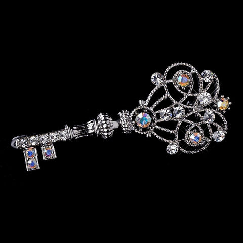 AB, Brooch, Jewelry, Key, Rhinestones, Rhodium, Sale