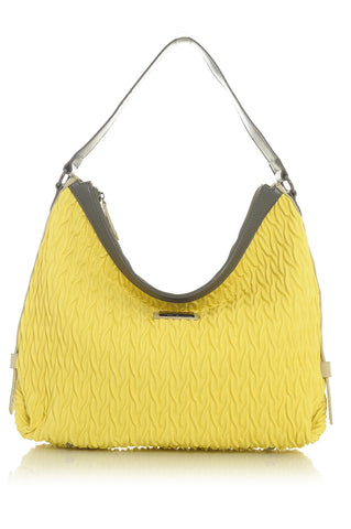 Vibrant Yellow Cord Inspired Textured Handbag with Taupeish Brown Trim