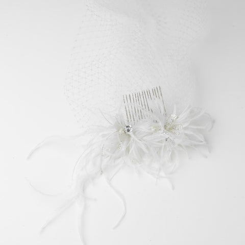 Accessories, Beads, Birdcage & Blusher Veils, Combs, Crystals, Face, Feather Fascinators, Feathers, Hair Comb, Headpieces, Ivory, Sale, Swarovski Crystal Beads, Tulle, Veils, White