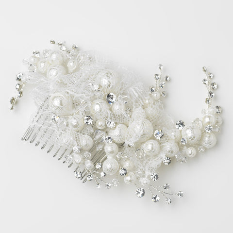 Crystals, Diamond White, Faux Pearls, Hair Comb, Hair Vines, Headpieces, Lace, Pearls, Silver, Swarovski Crystal Beads