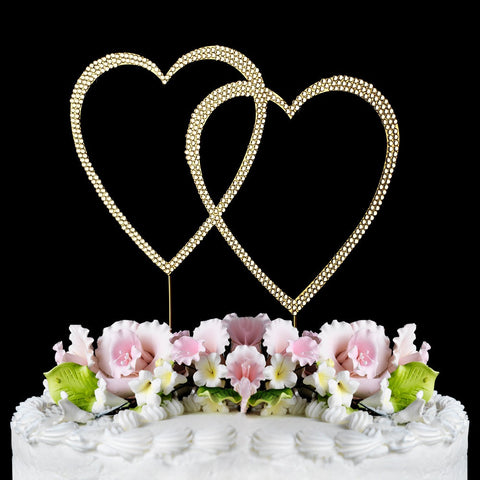 Gold Plated Crystal Wedding Heart Cake Toppers
