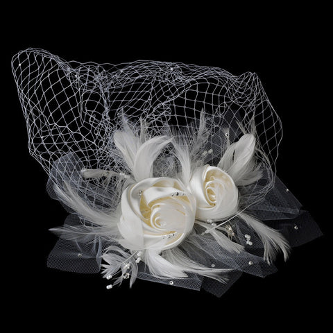 Accessories, Birdcage & Blusher Veils, Face, Feather Fascinators, Hair Clip, Hair Flowers, Headpieces, Ivory, Veils, White