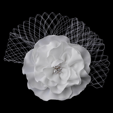 Accessories, Birdcage & Blusher Veils, Hair Clip, Hair Flowers, Headpieces, Ivory, Veils, White
