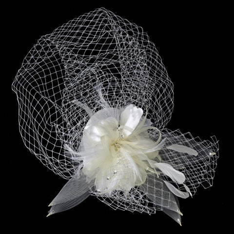 Accessories, Birdcage & Blusher Veil, Face, Feather Fascinators, Hair Clips, Hair Flowers, Hats, Headpieces, Ivory, Veil, White
