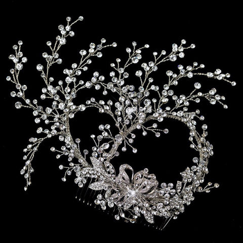 Clear, Hair Comb, Hair Vines, Headpieces, Rhinestones, Rhodium