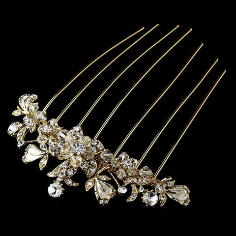 Clear, Crystals, Gold, Hair Comb, Headpieces, Rhinestones, Swarovski Crystal Beads