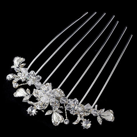 Clear, Crystals, Hair Comb, Headpieces, Rhinestones, Silver, Swarovski Crystal Beads