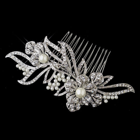 Diamond White, Faux Pearls, Hair Comb, Headpieces, Pearls, Rhinestones, Rhodium