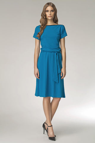 Ocean Blue Shoulder Resting Knee Length Dress with Belted Tie