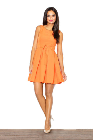 Above Knee Sleeveless Orange Baby Doll Dresses with Pleates and Belt