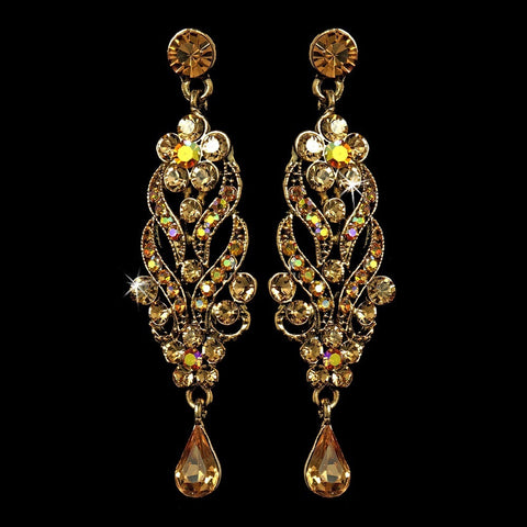 AB, Dangle, Earrings, Gold, Jewelry, Pear, Rhinestones, Topaz