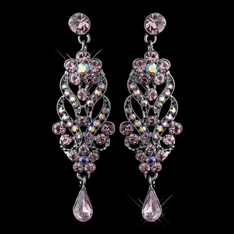 Amethyst, Dangle, Earrings, Jewelry, Pear, Purple, Rhinestones, Rhodium