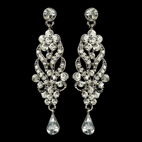 Chandelier, Clear, Earrings, Jewelry, Pear, Rhinestones, Rhodium
