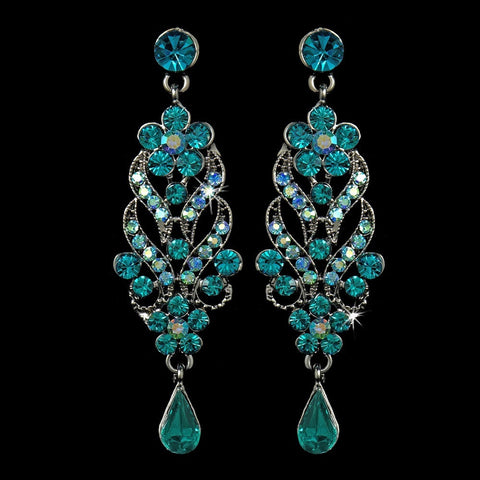 Blue, Dangle, Earrings, Jewelry, Pear, Rhinestones, Rhodium, Turquoise