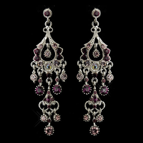 Amethyst, Chandelier, Earrings, Jewelry, Marquise, Purple, Rhinestones, Rhodium