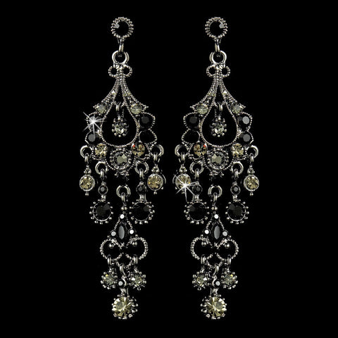 Black, Chandelier, Earrings, Jewelry, Marquise, Rhinestones, Rhodium