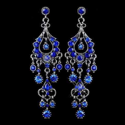 Blue, Chandelier, Earrings, Jewelry, Marquise, Rhinestones, Rhodium