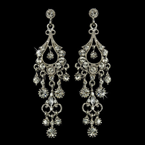 Chandelier, Clear, Earrings, Jewelry, Marquise, Rhinestones, Rhodium