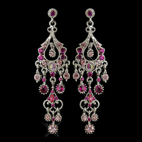 Chandelier, Earrings, Jewelry, Marquise, Pink, Rhinestones, Rhodium