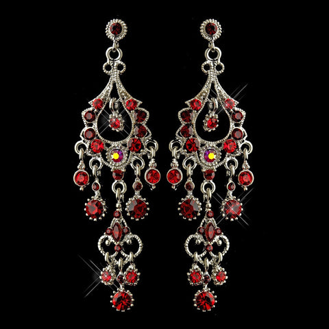 Chandelier, Earrings, Jewelry, Marquise, Red, Rhinestones, Rhodium