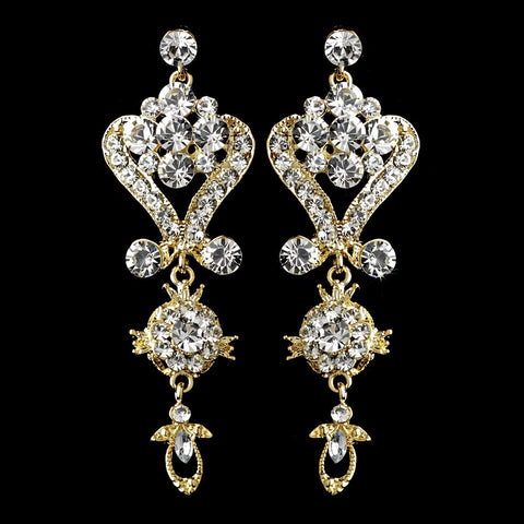 Chandelier, Clear, David Tutera for Mon Cheri, Earrings, Gold, Jewelry, Rhinestones