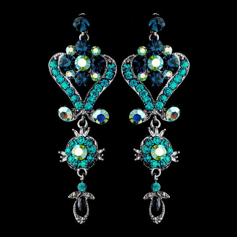Blue, Chandelier, David Tutera for Mon Cheri, Earrings, Jewelry, Rhinestones, Rhodium