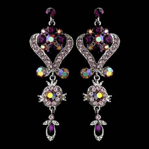 Amethyst, Chandelier, David Tutera for Mon Cheri, Earrings, Jewelry, Purple, Rhinestones, Silver