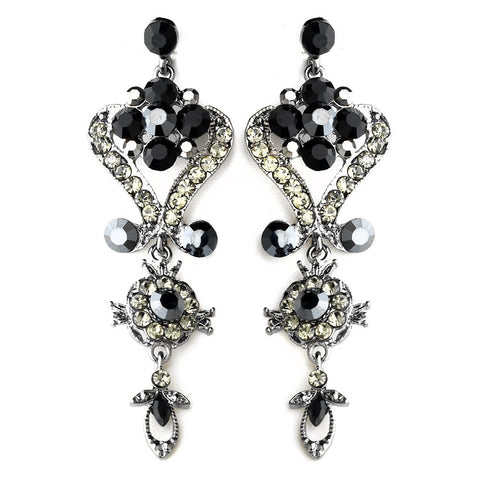 Black, Chandelier, David Tutera for Mon Cheri, Earrings, Jewelry, Rhinestones, Silver