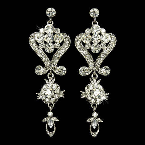 Chandelier, Clear, David Tutera for Mon Cheri, Earrings, Jewelry, Rhinestones, Silver