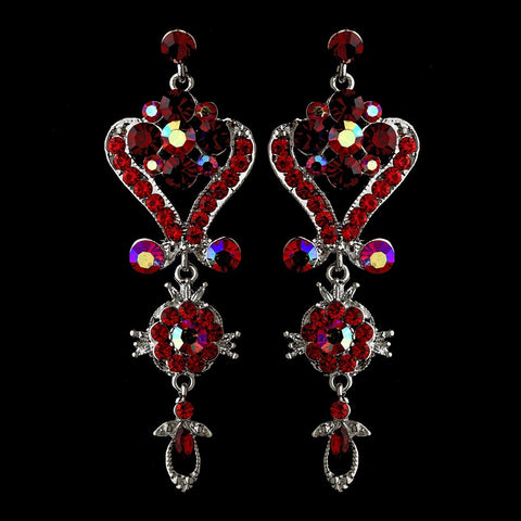 Chandelier, David Tutera for Mon Cheri, Earrings, Jewelry, Red, Rhinestones, Silver
