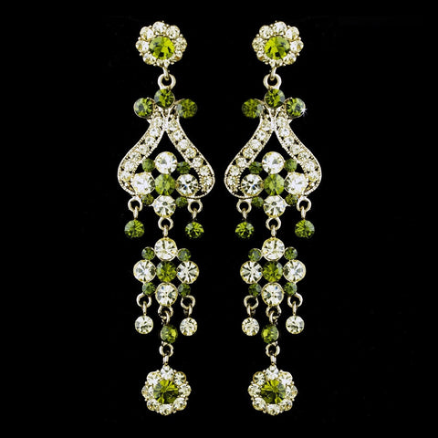 Chandelier, Earrings, Gold, Green, Jewelry, Rhinestones