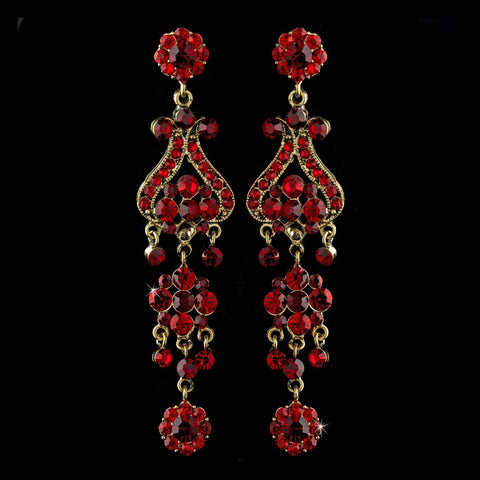 Chandelier, Earrings, Gold, Jewelry, Red, Rhinestones