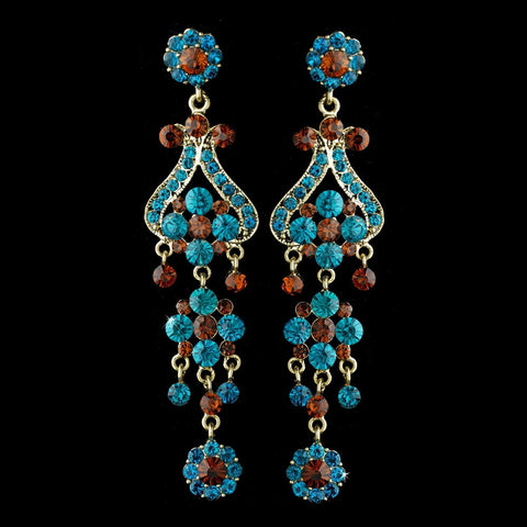 Brown, Chandelier, Earrings, Gold, Jewelry, Rhinestones, Turquoise