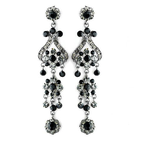Black, Chandelier, Earrings, Jewelry, Rhinestones, Rhodium