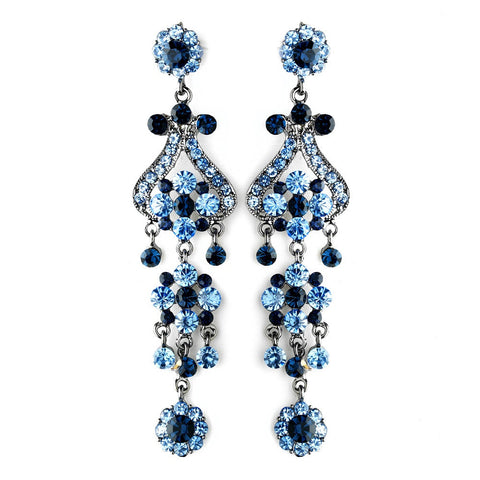 Blue, Chandelier, Earrings, Jewelry, Rhinestones, Rhodium
