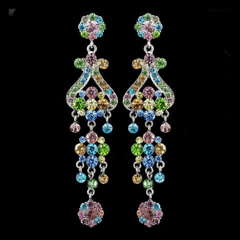 Chandelier, Earrings, Jewelry, Multi, Rhinestones, Silver