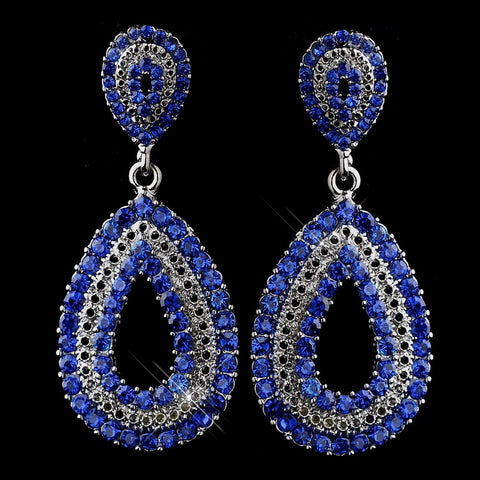 Blue, Drop, Earrings, Jewelry, Rhinestones, Rhodium