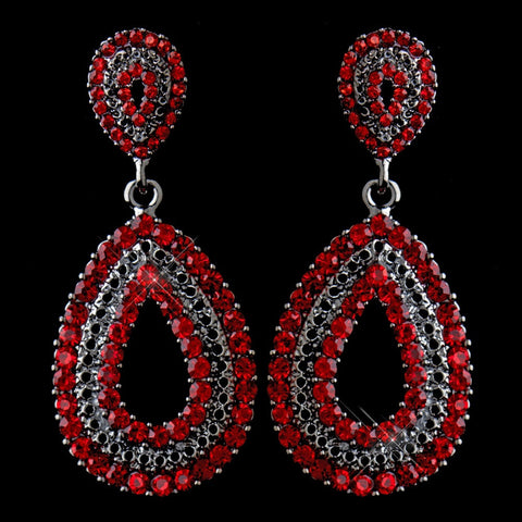 Drop, Earrings, Jewelry, Red, Rhinestones, Rhodium