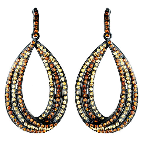 Black, Earrings, Hoop, Jewelry, Rhinestones, Topaz
