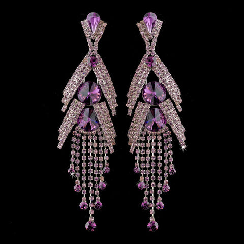 Amethyst, Chandelier, Crystals, Earrings, Jewelry, Marquise, Purple, Rhinestones, Silver